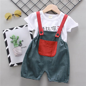 Newborn Boy Clothes Shorts Sleeve Tops Overalls 2Pcs Outfits Summer Cartoon Clothing 2020