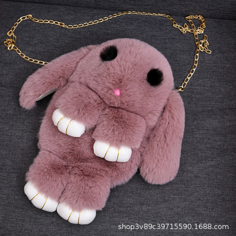 Stuffed Rabbit Plush Backpack Storage Children Zipper Bag Gift