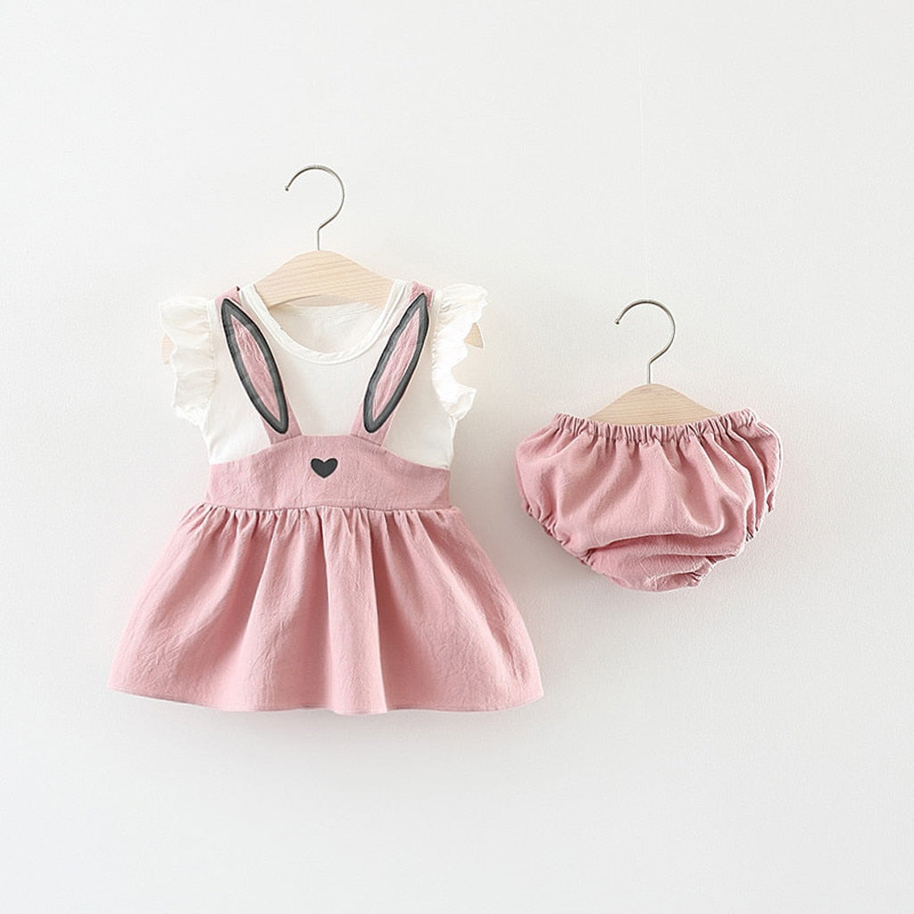 Baby Girl Cartoon Knee-Length Dress Set Sleeveless Cartoon Rabbit Bunny Ear Dress Shorts