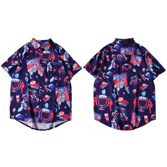Harajuku Beach Shirt HipHop Tops Short Sleeve Summer Aloha Shirts Blue