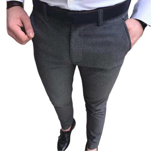 Elastic Pencil Pants Long Trousers Solid Color Button Closure with Pockets Elastic