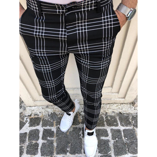 Fit Black Trousers Zipper Mid Waist Skinny Business Office Work Party Male Spring Stretchy