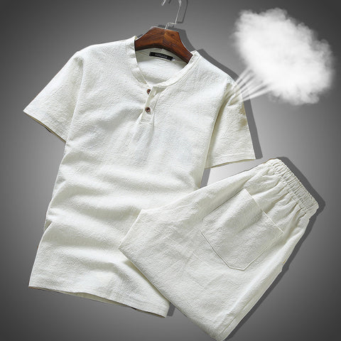 Mens Summer Set Linen Fabric Breathable Summer Clothes Two Piece Set for Men