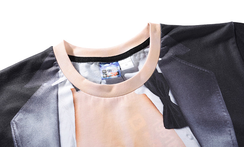 3D Print T-shirt Fashion Sexy Fake Two Piece Short Sleeve Tshirt