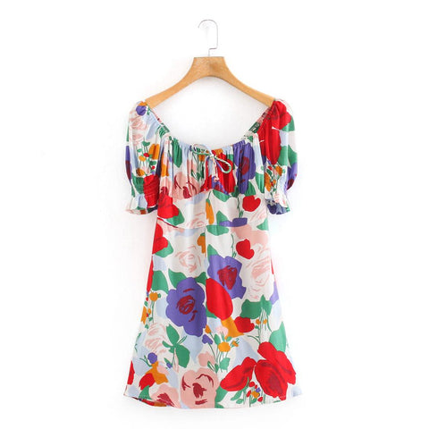 New 2020 Women retro square collar puff sleeve colorful flower print mini Dress female bow Vestidos Chic casual Dresses DS3763