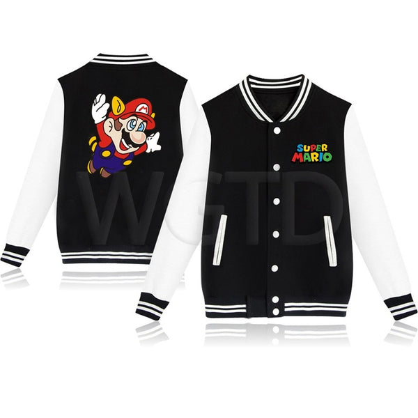 Super Mario Arale Jacket Casual Sportswear Unisex Sweatshirt Coats Tops Hip Hop Baseball Jerseys