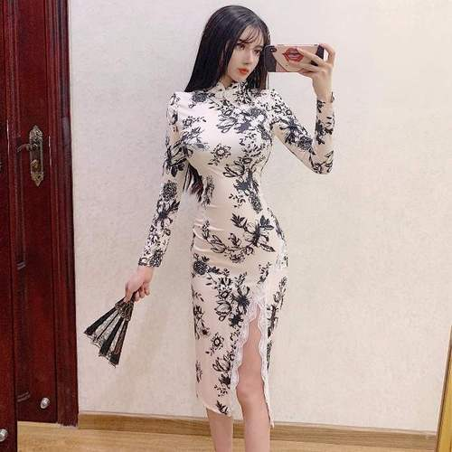 Home net red sexy nightclub retro improved girl long split lace cheongsam hip dress piece