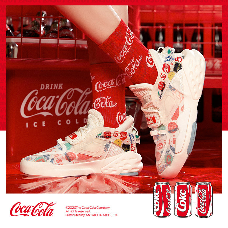 Anta Coca-Cola joint shoes 2020 sneakers women's shoes official website summer tide domineering couple board shoes