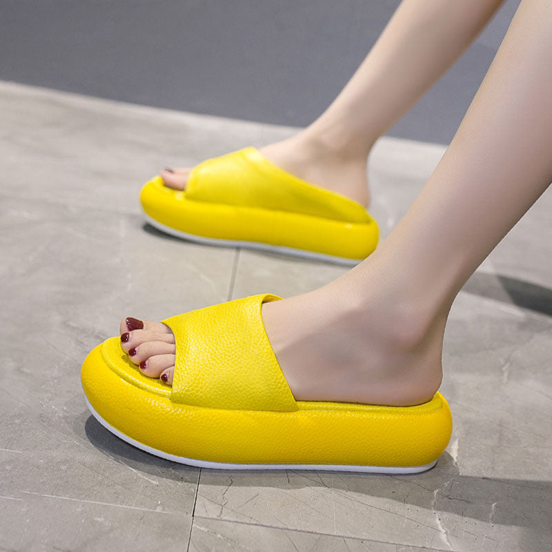 2020 summer new net red flat bottom loaf slippers women wear muffins thick bottom word beach sandals