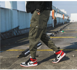 2020 Mens Big Pockets Ankel Cargo Pants Male Spring Streetwear Overalls Sweatpants