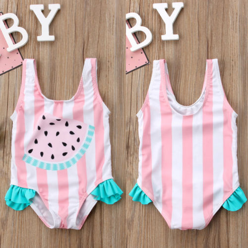 Baby Girl Swimwear Watermelon Striped Swimsuit Swimming One-Piece Bikini