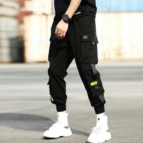 Streetwear Hip Hop Black Harem Pants Men Elastic Waist Punk Pants