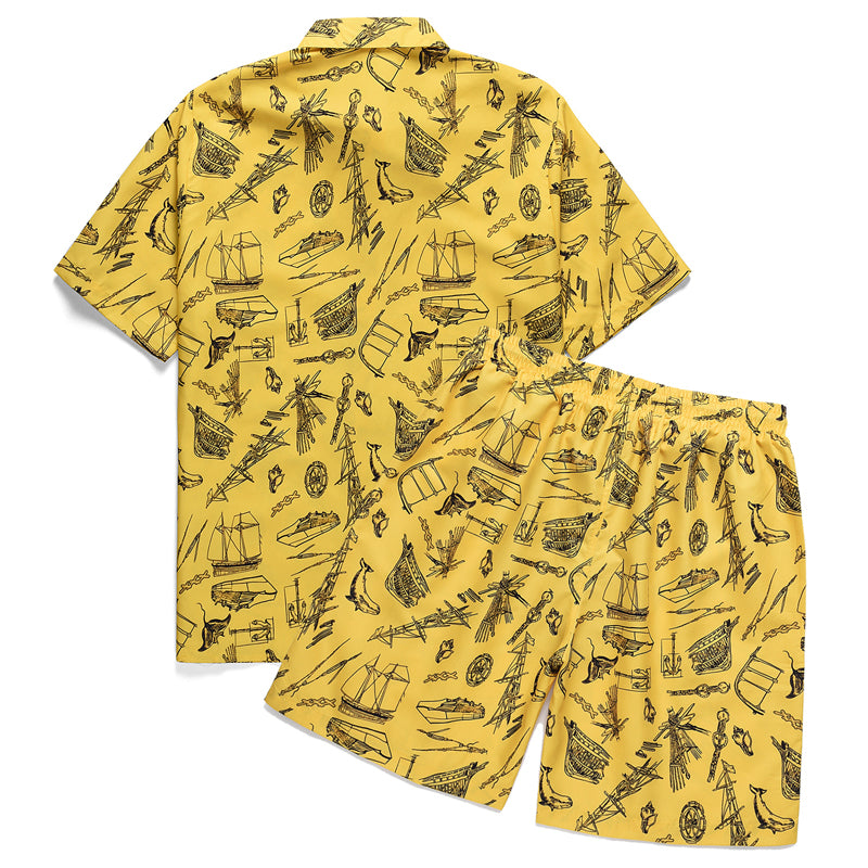 Aloha 2 Piece Set Men Sea Boat Print Hawaiian Shirts and Shorts Beach Wear
