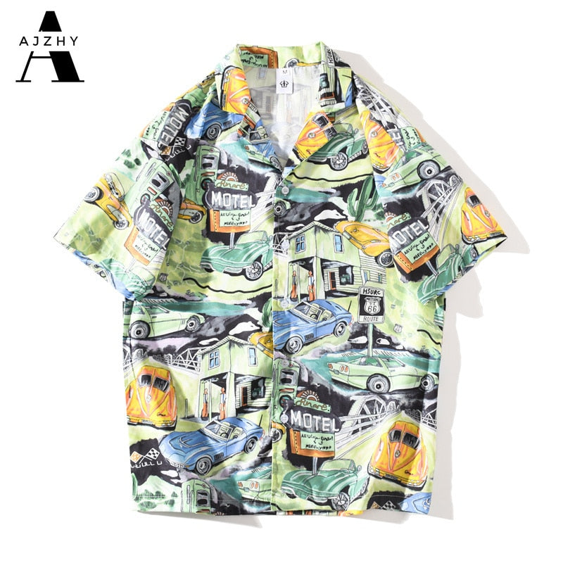 Harajuku Aloha Shir Men Anime Truck Print Hip Hop Shirts Casual t Retro Men Top Clothes