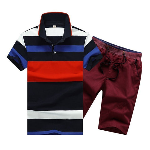 Summer Cotton Mens Polo Shirts Button Mens Sets Turn Down Neck
