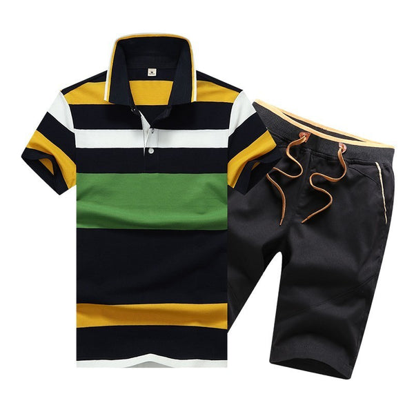 Sets Turn Down Neck 4XL Mens Shorts And Polos Striped Mens Clothes 2 Piece Sets