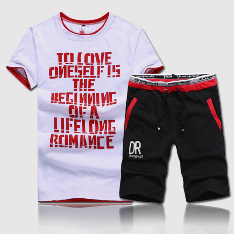 Summer Men's Set 2 Piece Set Fitness Clothes Man Casual O-neck Letters Printed Short
