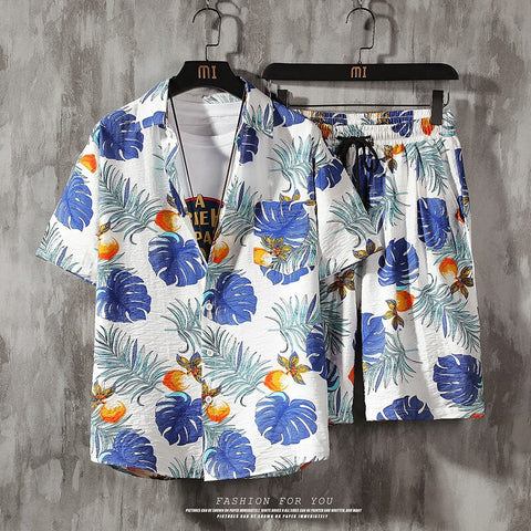 Aloha Men 2 Piece Set Prined Shirt + Shorts Summer Clothes Men Shorts Set