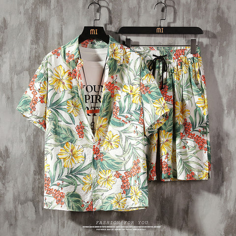 Aloha Men 2 Piece Set Prined Shirt + Shorts Summer Clothes Men Shorts Set Floral Print