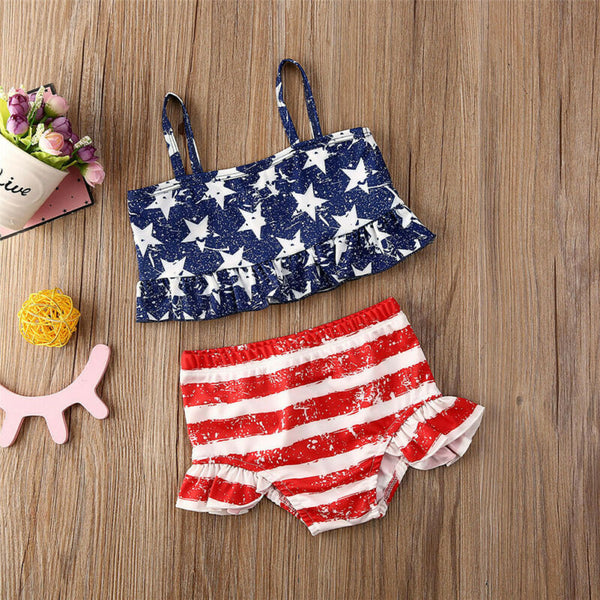Summer Toddler Kids Baby Girl Ruffles Ruffles Star Printed Striped Swimwear
