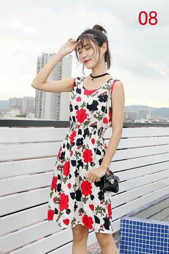 2020 cotton silk floral vest dress summer artificial cotton sleeveless bohemian skirt beach resort beach
