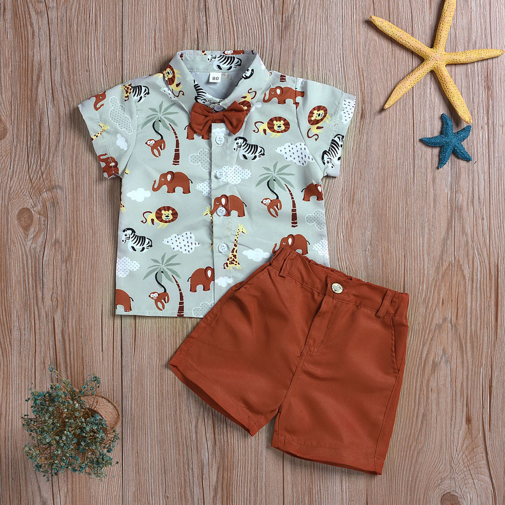 Cute Cartoon Animals Print Shirt+ Solid Shorts Outfit Fashion Formal Boutique Kids Clothing
