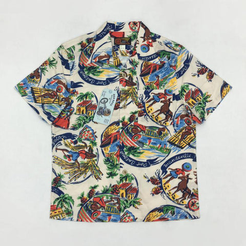 Vintage 50s Aboriginal Aloha Hawaii Shirts For Men Hawaiian Summer Print Tops