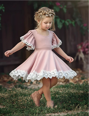 Toddler Girls' Sweet Party Dusty Rose Flower Lace