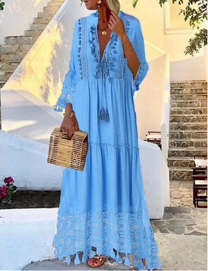 Casual Boho Holiday Vacation Beach Swing Paisley Solid Colored Deep V Lace