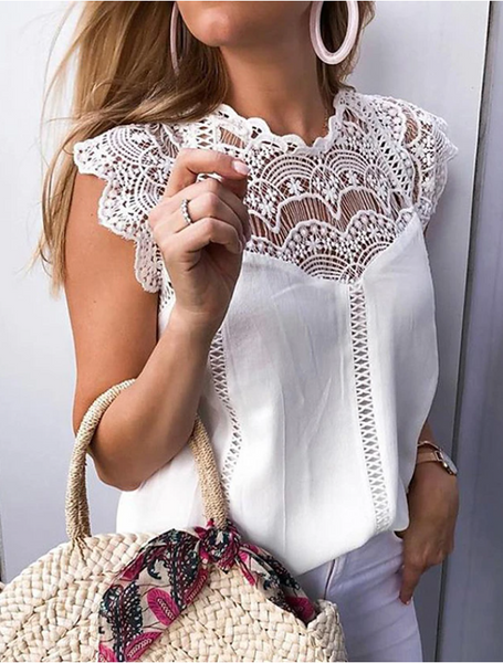 Solid Colored Lace White