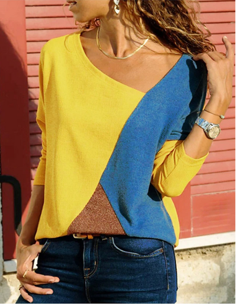 Causal Plus Size Blouse V Neck Yellow