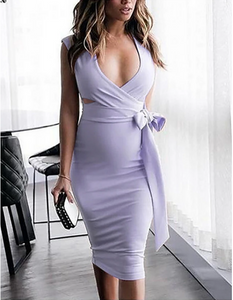 Purple Blue Dress Bodycon Solid Color