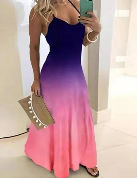Maxi Plus Size Purple Blue Dress Swing