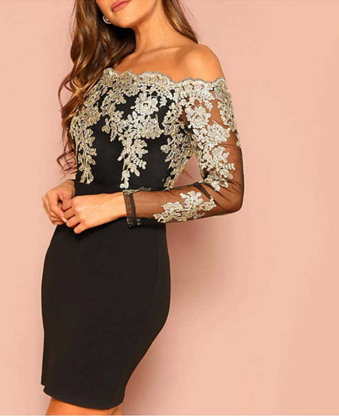 Bodycon Geometric Off Shoulder Glitter Lace up