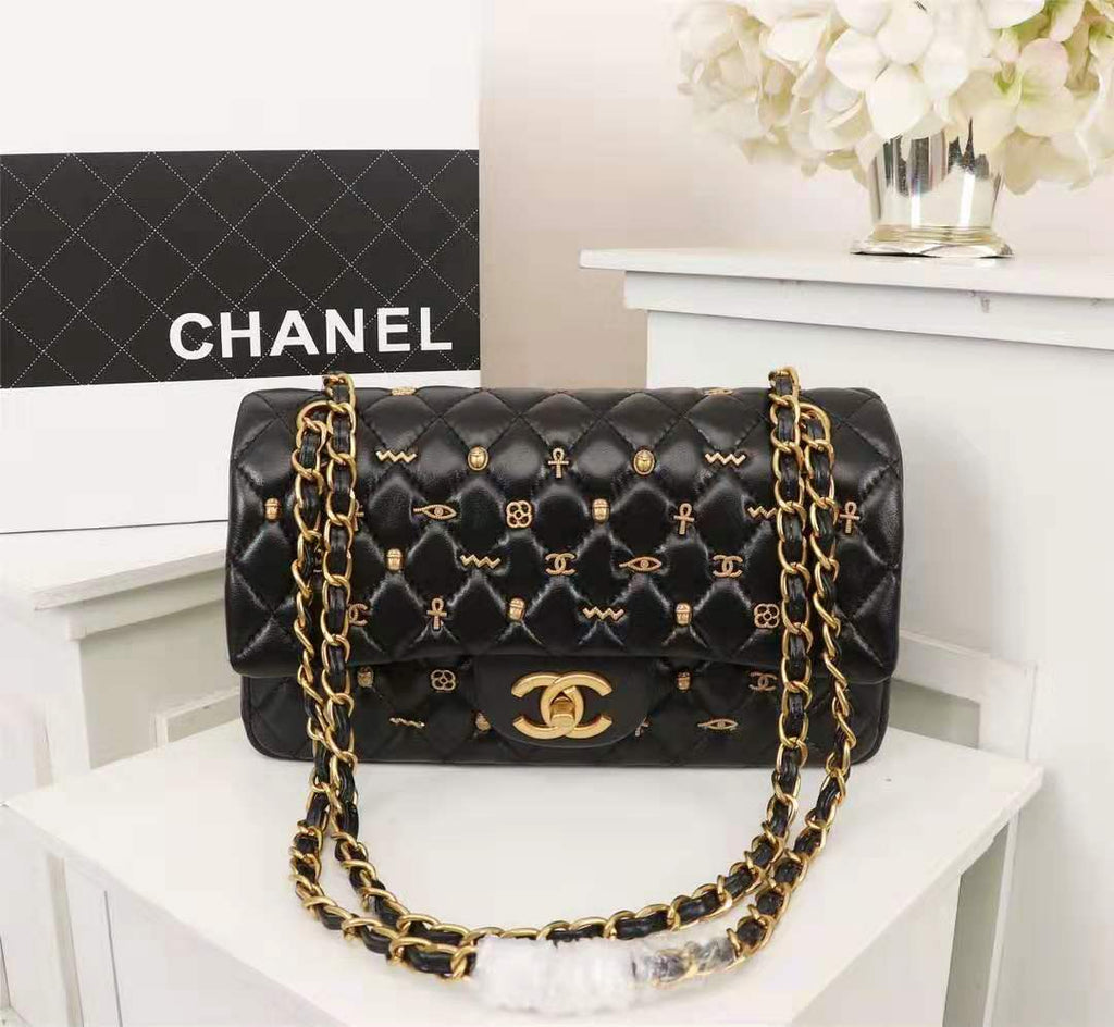 CHANEL Black Quilted Lambskin Double Sided Classic Flap Medium
