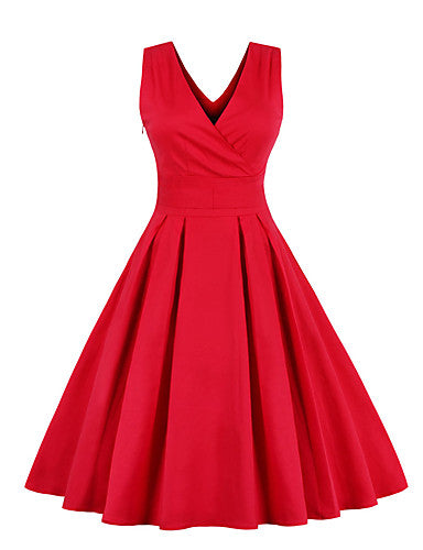 Women's Vintage Street chic Chiffon Dress - Solid Colored Pleated Red Royal Blue XXL XXXL XXXXL