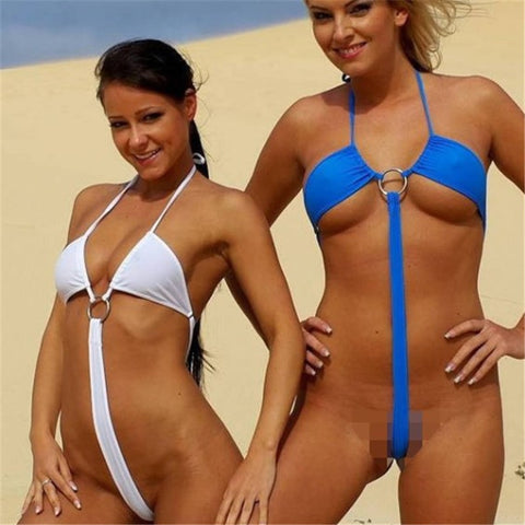 2020 Sexy Solid color metal ring Hanging neck Tether Girl Beach swimwear women one piece swimsuit women biquini bikinis