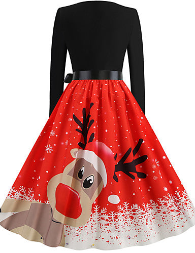 Women's Christmas Party Daily Wear Basic A Line Dress - Solid Colored Red S M L XL