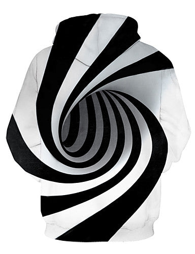 Kids Toddler Boys' Active Basic Black & White Fantastic Beasts Striped Geometric Print Print Long Sleeve Hoodie & Sweatshirt White