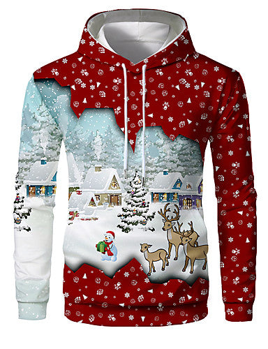 Men's Casual / Christmas Hoodie - Color Block / 3D Rainbow