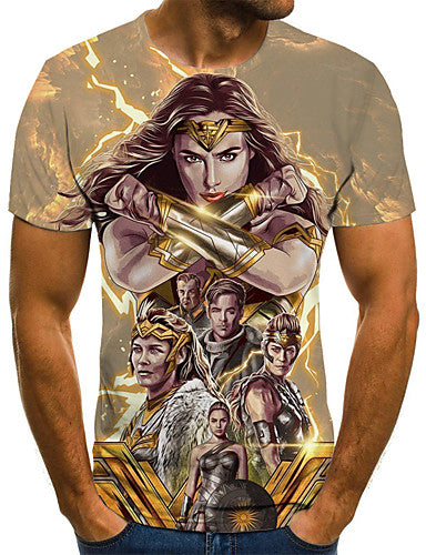 Men's Weekend Street chic T-shirt - 3D / Cartoon / Portrait Pleated / Print Gold