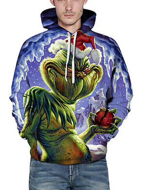 Men's Basic / Christmas Hoodie - Print / 3D / Cartoon Blue US32 / UK32 / EU40