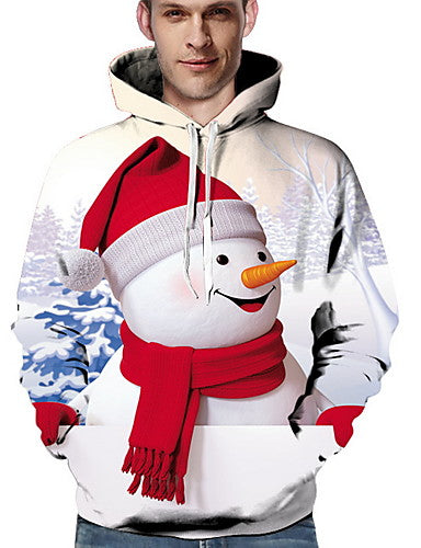 Men's Casual Hoodie - Cartoon White