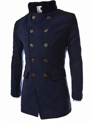 Men's Daily / Work Fall / Winter Long Coat, Color Block Stand Long Sleeve Cotton / Polyester Black / Navy Blue / Gray / Double Breasted