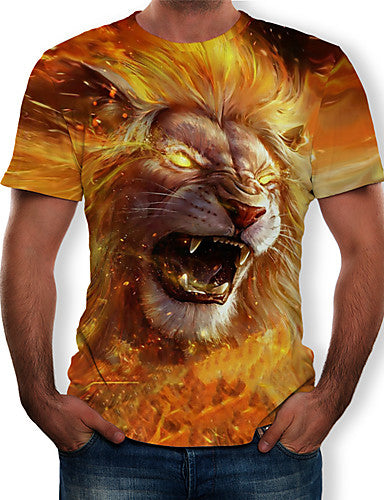 Men's T-shirt - 3D / Animal Print Round Neck Yellow