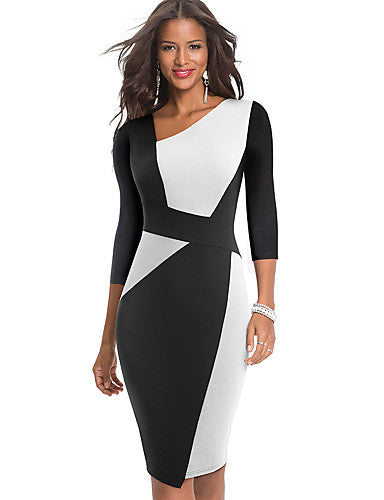 Women's Sophisticated Elegant Bodycon Sheath Dress - Color Block Patchwork White Blue Red S M L XL