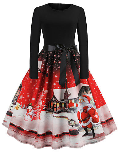 Women's Christmas Vintage A Line Dress - Snowflake Tribal Santa Claus, Print Purple Blue Red S M L XL