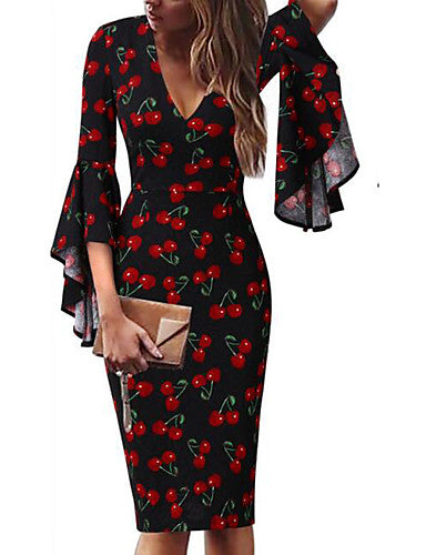 Women's Plus Size Work Sexy Flare Sleeve Sheath Dress Print Spring Red / White Rainbow Royal Blue XXXL XXXXL XXXXXL / Deep V