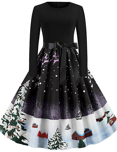 Women's Christmas Party Festival Vintage Basic Swing Dress - Geometric Santa Claus, Patchwork Print Black Purple Blue S M L XL