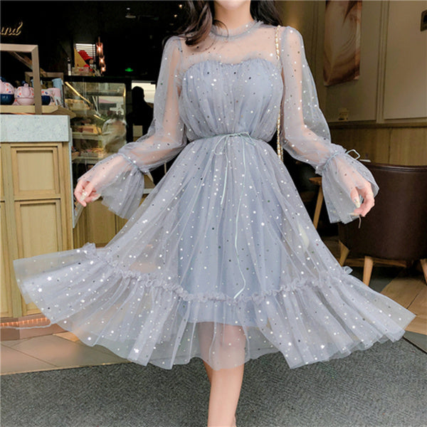RUGOD New shiny women dress sequined transparent loose a line mesh patchwork elegant solid summer dress korean style kimono
